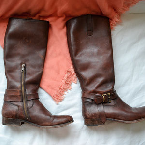 Frye Distressed Brown Leather Riding Boots